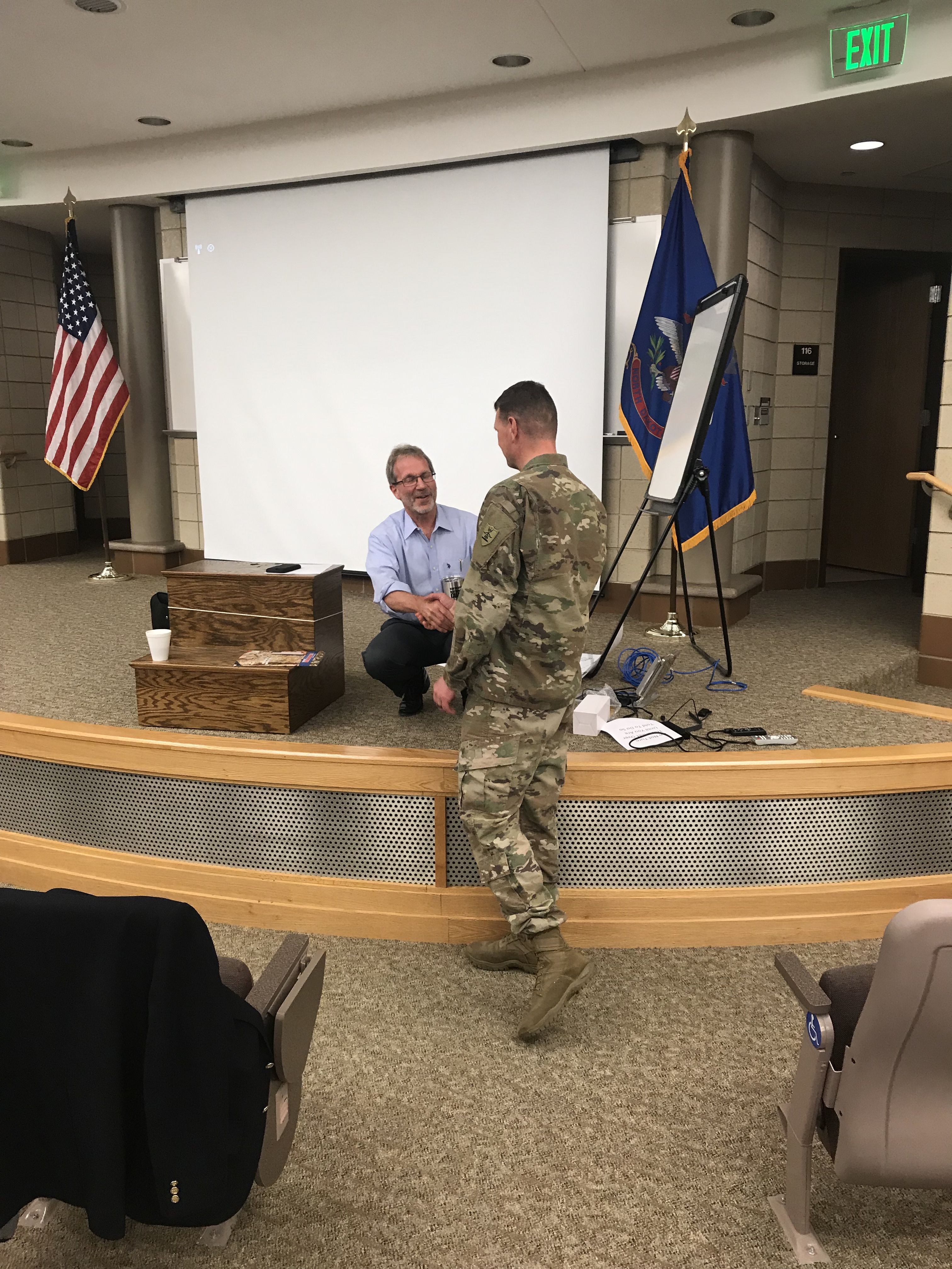 Mark Levy receives gift from ND ARNG
